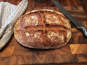 Sourdough bread loaf fresh out of the oven