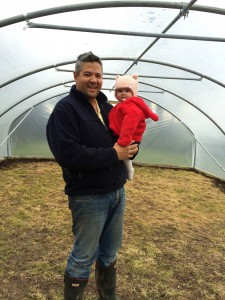 Aisling and I in the polytunnel