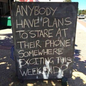 Chalk board with mobile phone quote