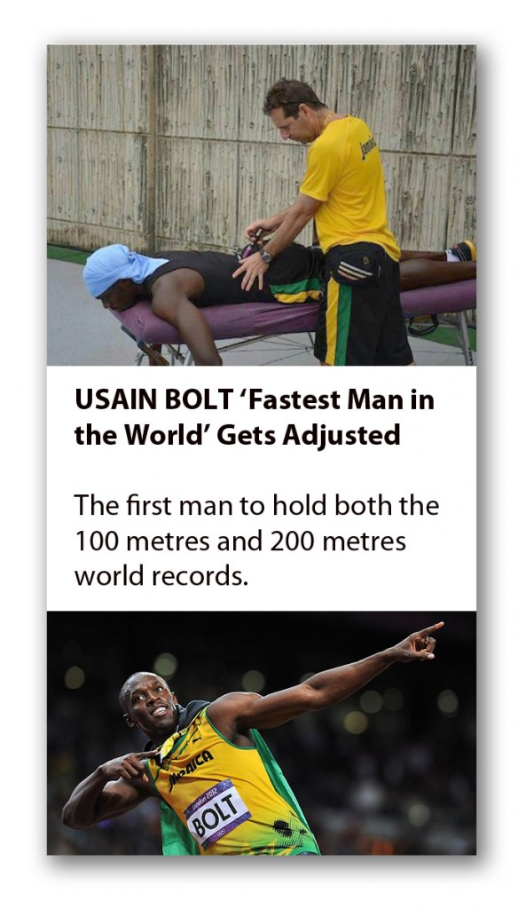 Usain Bolt gets Chiropractic Care